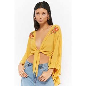 F21 Women's Yellow Sheer Floral Embroidered Top